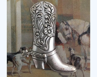 Silver Boot with Spurs ( 1 pc )