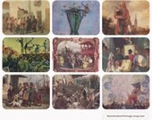 Travelling Circuses and Theaters. Collection / Set of 9 Vintage Prints, Postcards -- 1960s-1980s
