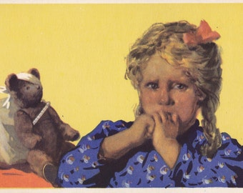 "Postcard Drawing by N. Akimushkin ""Teddy ill"" -- 1955"