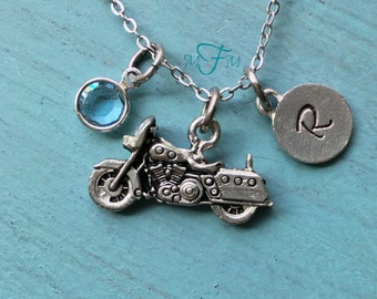 Motorcycle Charm Necklace, Personalized Necklace, Silver Pewter Motorcycle Charm, Custom Necklace, Swarovski Crystal birthstone