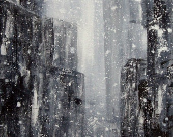 INSTANT DOWNLOAD Winter Scene Print from Original Painting , snow  print , winter scene print, Digital print  winter landscape, Poster print