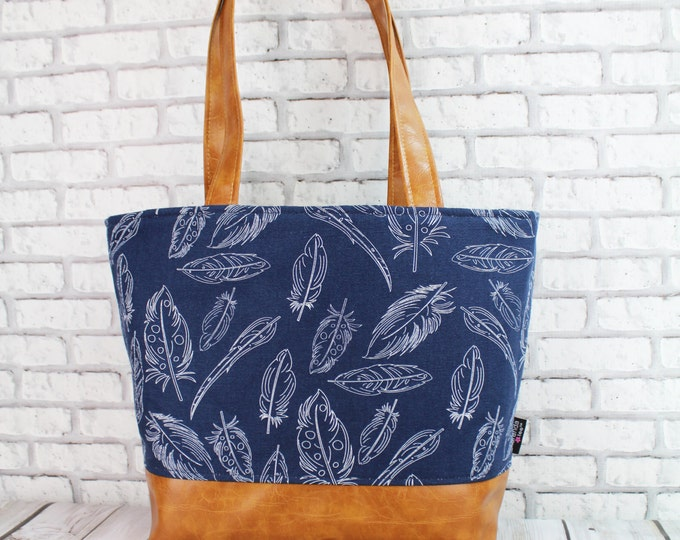 Lulu Large Tote Diaper Bag Navy Feathers and PU Leather -LIMITED Edition Zipper Closure 6 pockets Nappy Bag Washable
