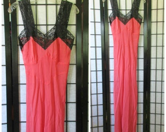 Vintage 1930s 1940s Negligee Coral with Black Lace Long Nightgown Semi Sheer Crepe 32 34 XS S M Bias Cut Maxi Slip Dress Deadstock NOS