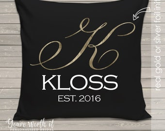 Monogram and year established wedding pillow - THROW pillow size 14 x 14 - perfect wedding gift for the newlyweds FOIL GLITTER