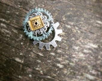 Oxidized Green Gear Pin