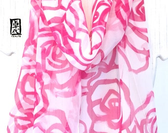 Hand Painted Silk Scarf, Birthday Gift, Gift for Women Scarf, Pink Silk Scarf, Pink Roses Scarf, Silk Chiffon Scarf,  11x60 inches.
