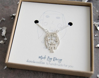 Your Childrens Drawing- Kids Drawing Necklace- Personalized Jewelry- Gifts for mum- Keepsake Necklace- Grandma Gift- Custom Necklace