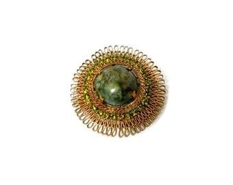 Vintage Brooch Art Glass Cabochon Peridot Rhinestones Gold Vermeil Made in Austria 1950s