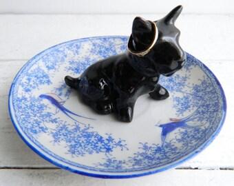 Vintage Scottish Terrier Dog Ring Dish, Scottie Figurine & Porcelain Saucer Trinket Holder, Shabby Plate Jewelry Display