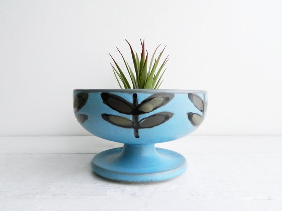 Vintage Modern Blue Stoneware Footed Dish by Jonas Roberts - Succulent Planter
