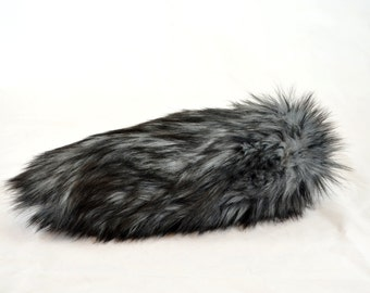 Dark Husky Wolf Tail Faux Fur with Clasp