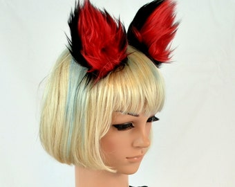 Clip On Cat Ears in Red and Black Faux Fur