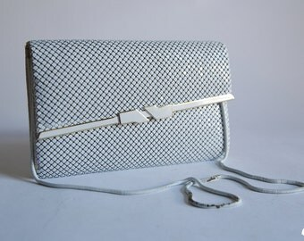 Vintage 80s White Chain Link Purse Metal Mesh Envelope Clutch