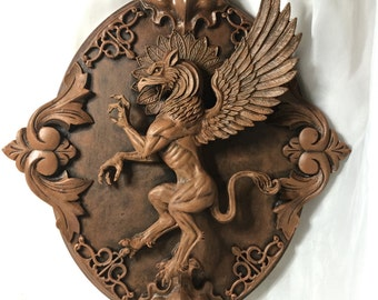 Griffin Wall Plaque, wood finish