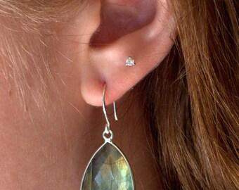 Silver Labradorite Drop Earrings, Silver Dangle Drop Earrings, Sterling Silver Labradorite Earrings, Large Gemstone Earrings Jewelry