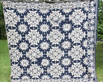Antique handwoven indigo coverlet, antique woven blanket, 1839, overshot coverlet