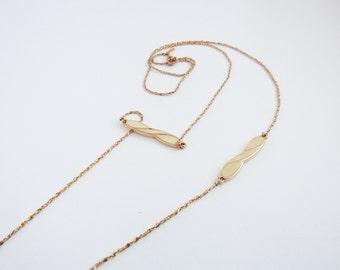 Vintage Monet Necklace / Sale 75% off / Cream Enamel / Gold / Long Necklace / Twist Design / Layering Necklace