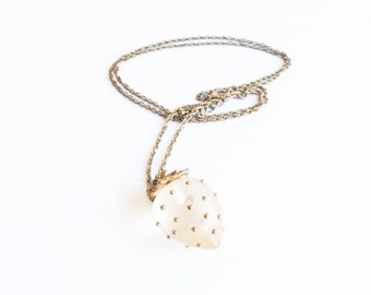 Frosted Strawberry Vintage Acrylic Resin Necklace with Gold Tone Chain