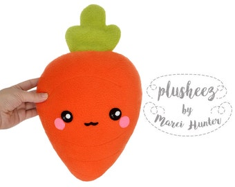 Carrot plushie - kawaii vegetable root handmade pillow / cushion