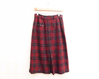 Vintage 1950s Skirt | Red and Black Plaid 1950s Wool Skirt | size small