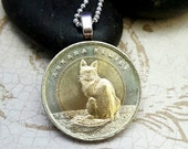 Angora Cat necklace. Cat coin pendant. coin necklace. Turkish angora cat. cat jewelry. Coin jewelry. Cat lover. Cat lady.