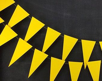 Yellow Pennant 6ft Garland: Rainbow Birthday Party, Yellow Wedding, Pink Lemonade Party, Sunshine Garland, Circus Party, Mardi Gras Garland