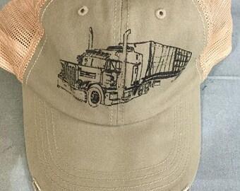 Trucks On A Trucker Hat, 18 Wheeler, Truck, Screen Print by Hand