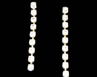 Rhinestone Dangle Earrings Retro Pierced Super Sparklers