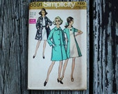 Simplicity 8591 1960s 60s Mod Dress and Coat Vintage Sewing Pattern Size 16 Bust 38