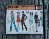 McCall 2040 1960s 60s Jumper Blouse Pants Vintage Sewing Pattern Size 12 Bust 34