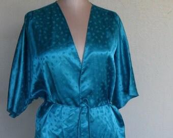 Vintage Robe Shiny Satin House Coat Size Small