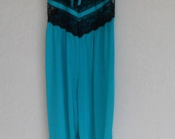 Vintage Nightgown Palazzo Split Leg Jumpsuit  Size Small Sleepsuit Silky Nylon