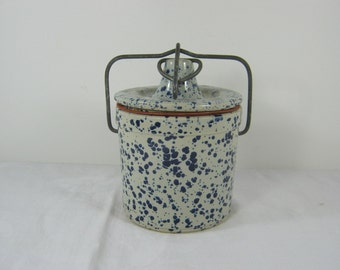 Vintage BLUE SPLATTER CROCK Cheese Jar w/ Bail Wire Hinged Lid
