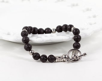 Mens Bracelet Lava Rock with Stainless Steel Toggle Clasp Fathers Day Gift