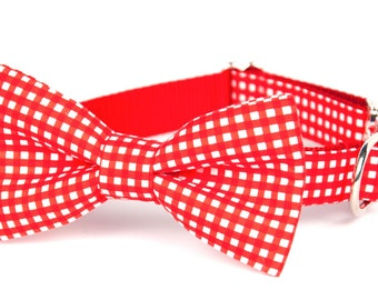 Crew LaLa Red™ Colorblock Gingham Bow Tie Dog Collar