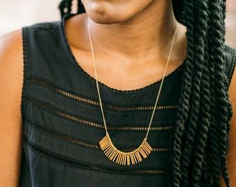 Crete -- large bronze fringe necklace