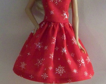 Handmade Barbie Clothes-Red with White Snowflakes Barbie Dress