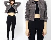 Grey Cropped Denim-Look Corduroy Jacket