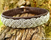 Genuine Swedish Sami Bracelet YGGDRASIL Viking Cuff Handmade in Silksoft Antique Brown Reindeer Leather with Viking Braided Spun Pewter Wire