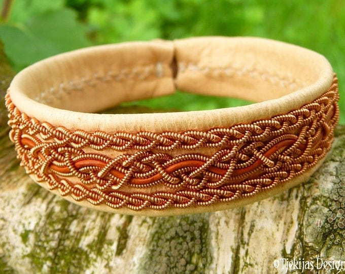 Natural Leather Swedish Viking Bracelet Cuff NIDHOGG Sami Bracelet with Copper Braids and Rosewood Leather Cord Handmade Norse Elegance