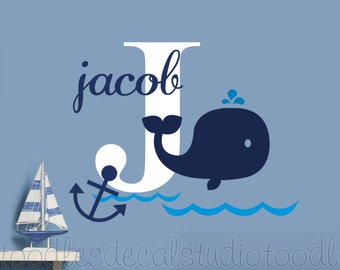 Whale Wall Decal, Hampton Whale Decals, Anchor Wall Decal, Nautical Room Decor, Bathroom Decal, Monogram Whale decal, Name Decal for Boys