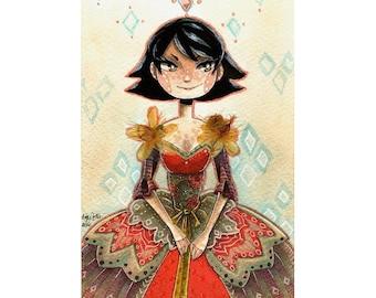 Red Dressed Girl CROSS STITCH PATTERN Original Art by MaxyVert