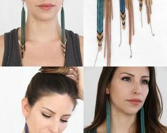 Green Long Statement Earrings, Tribal Earrings - Choose your length & color
