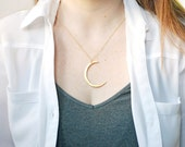 Long Gold or Silver Crescent Moon Slice Necklace Pendant, Silver Moon Pendant, Gold Moon Pendant