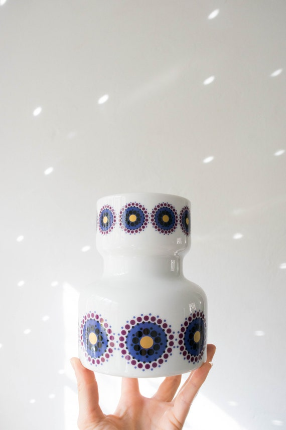 Mid Century Glazed Indigo Purple Gold Geometric White Porcelain Vase // Heinrich West Germany