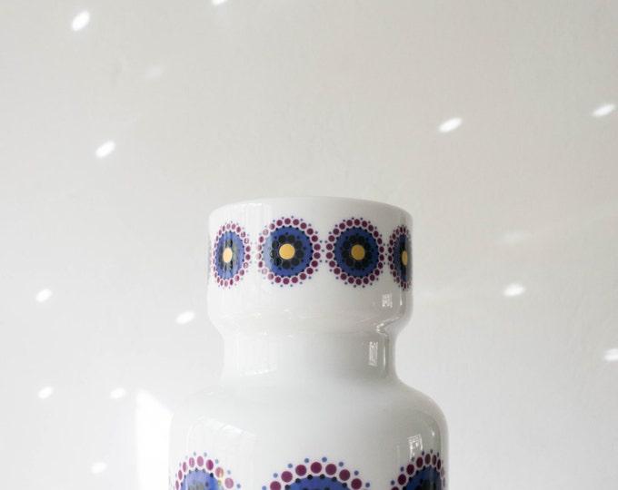 Mid Century Glazed Indigo Purple Gold Geometric White Porcelain Vase // Heinrich West Germany