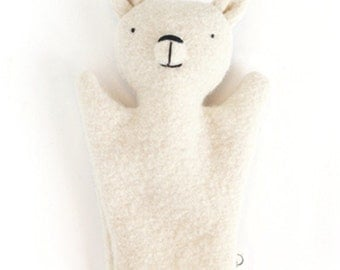 Marionette à main ours polaire  - polair bear wool hand puppet - puppet - wool toy