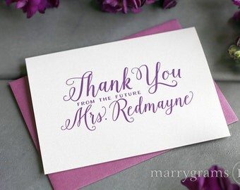 Thank You from the Future Mrs. Custom Bridal Shower Thank You's - Cards for Bride-to-Be, Script Calligraphy Style - Personalized Notes Pink