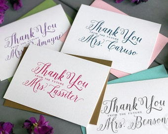 Future Mrs. Bridal Shower Thank You Cards, Soon To Be Mrs, Bridal Shower Cards, Thank You Cards Personalized Wedding Shower Notes (50ct)