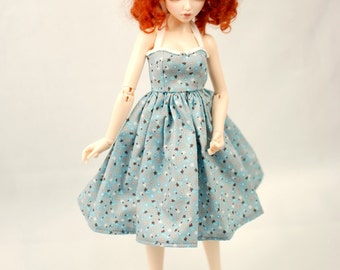 Minifee Grey Strawberry Halter Dress For Slim MSD BJD